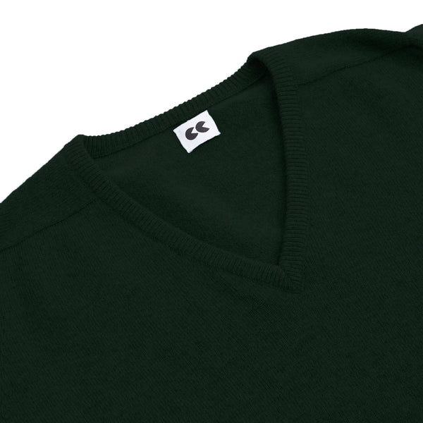 Lambswool V Neck Jumper Bottle Green