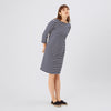 Women's 3/4 Sleeve Breton Dress Navy/Ecru - Community Clothing