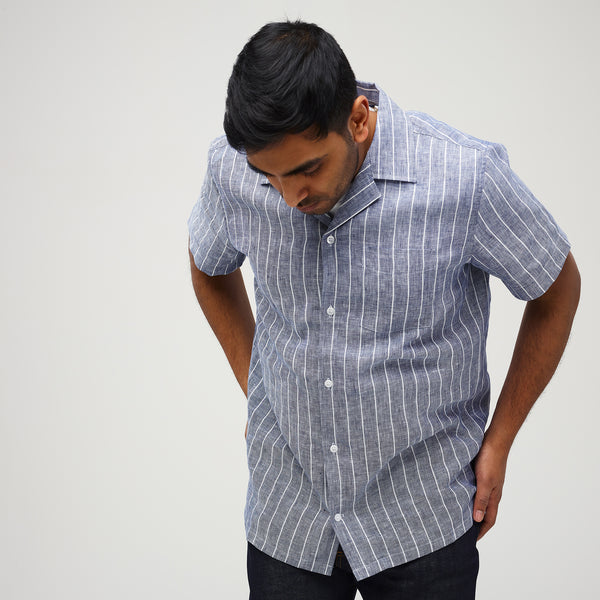 Camp Collar Shirt - Linen - Pencil Stripe - Community Clothing