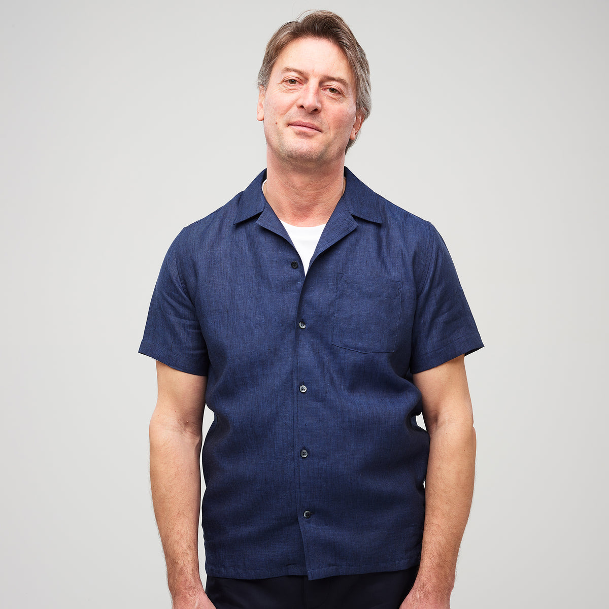 Camp Collar Shirt - Linen - Navy - Community Clothing