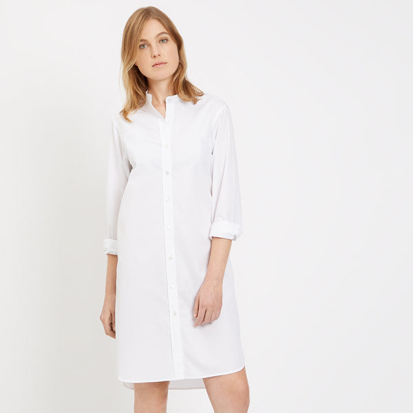 Womens Collarless Shirt Dress White