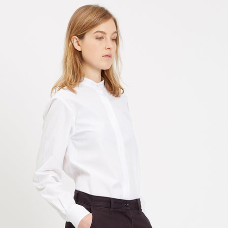 Womens Collarless Shirt White
