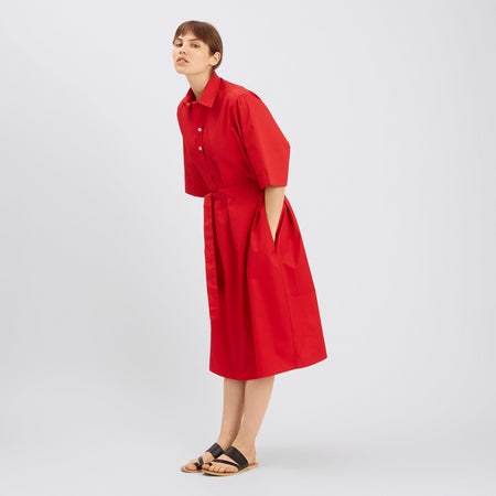 Cotton Dress - Straight - Red
