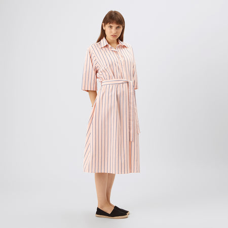 Womens Casual Popover Dress Pink Stripe - Community Clothing