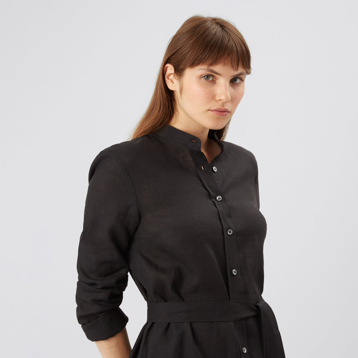 Women's Collarless Shirt Dress Black Linen - Community Clothing
