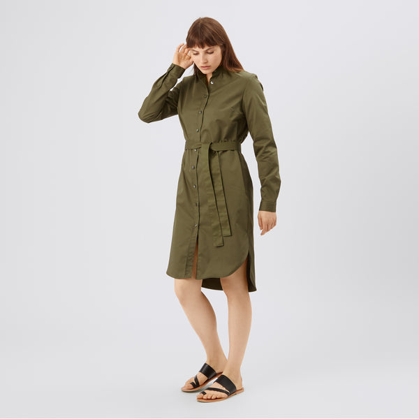 Women's Collarless Shirt Dress Olive - Community Clothing