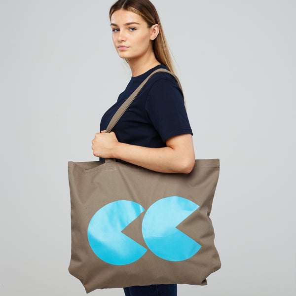 Printed CC Tote Bag Khaki and Teal - Community Clothing