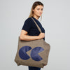 Printed CC Tote Bag Khaki and Navy - Community Clothing