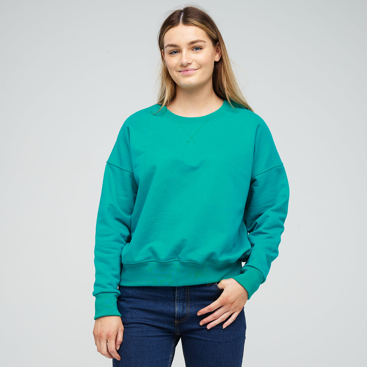 Women's Drop Shoulder Sweatshirt Emerald - Community Clothing