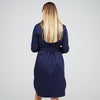 Women's Collarless Shirt Dress Navy - Community Clothing