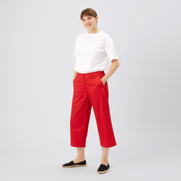Women's Cropped Work Trousers Red - Community Clothing