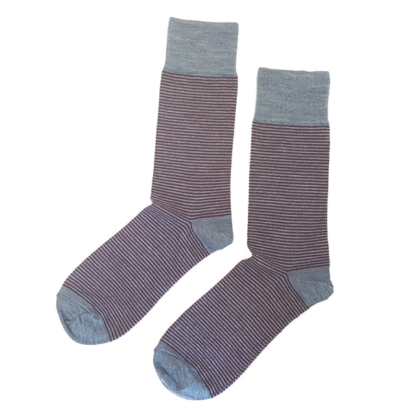Fine Striped Wool Socks Denim/Port - Community Clothing