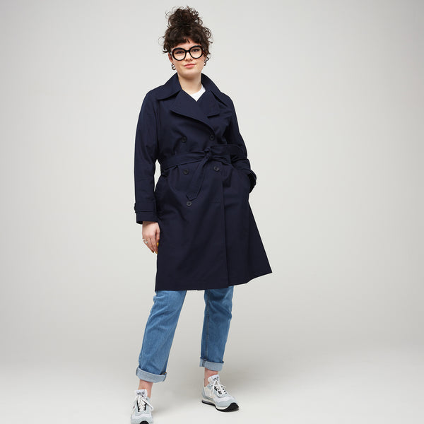 Women's Double Breasted Trench Navy - Community Clothing