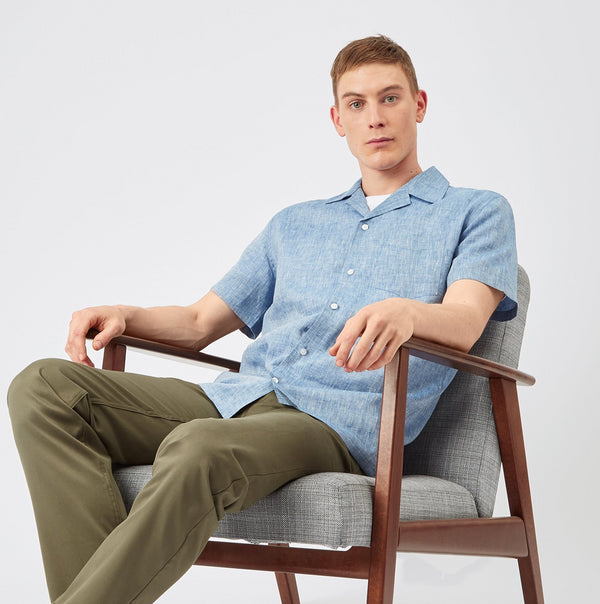 Camp Collar Shirt - Linen - Blue - Community Clothing