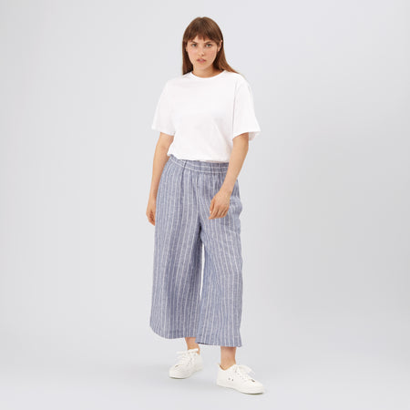 Women's Short PJ Trousers Linen Stripe - Community Clothing