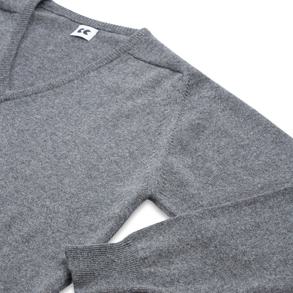 Lambswool V Neck Jumper Grey