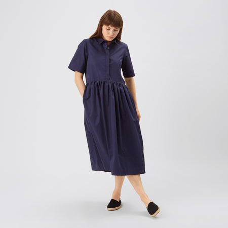 Cotton Dress - Gathered - Navy