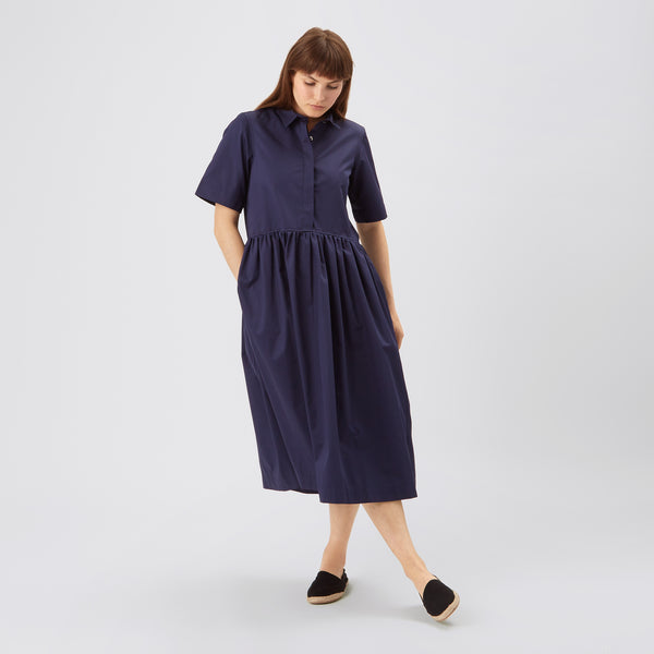Cotton Dress - Gathered - Navy - Community Clothing