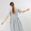 Cotton Dress - Gathered - White Denim Navy - Community Clothing