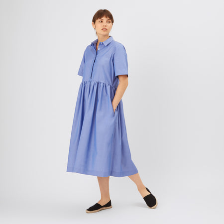 Cotton Dress - Gathered - Blue