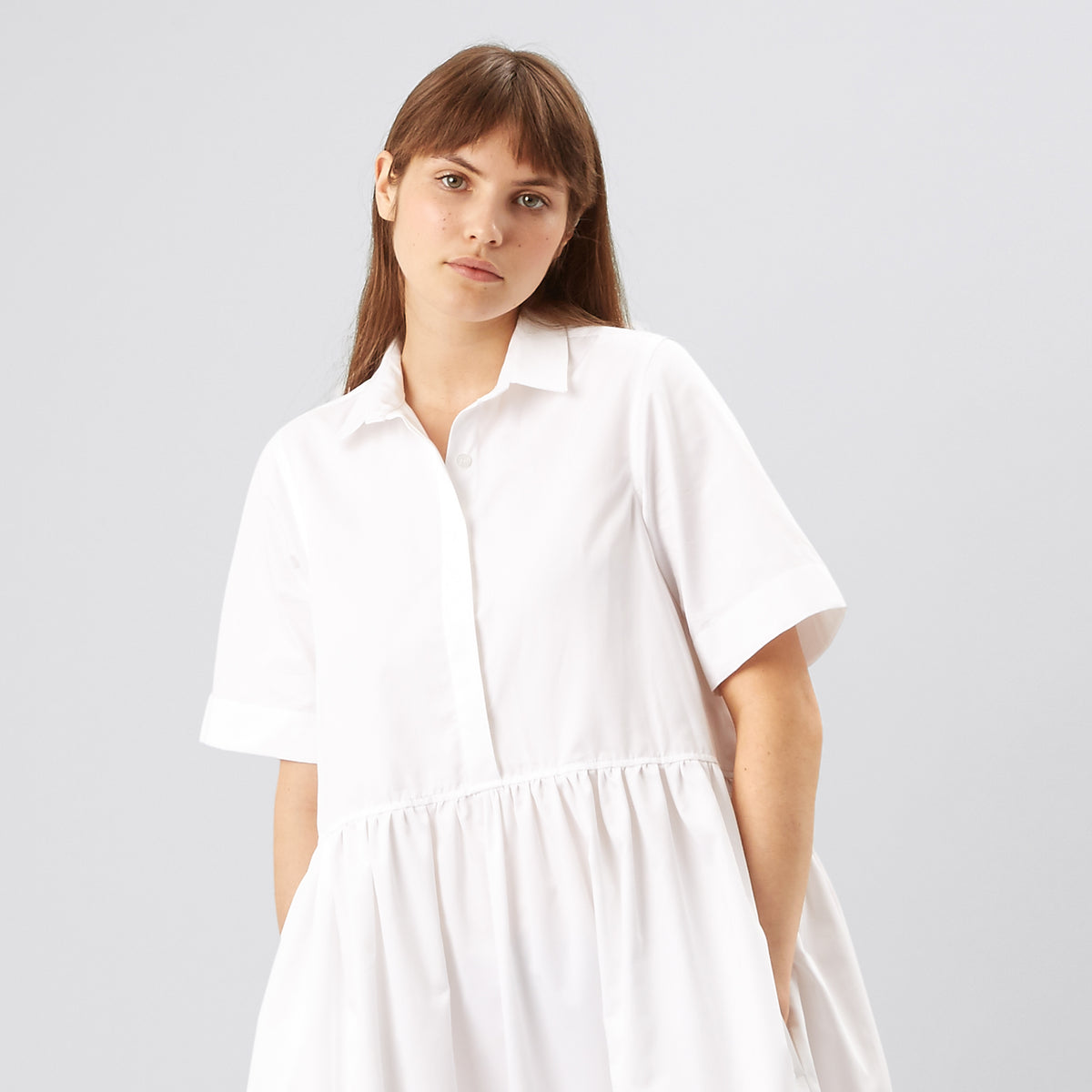 Cotton Dress - Gathered - White - Community Clothing