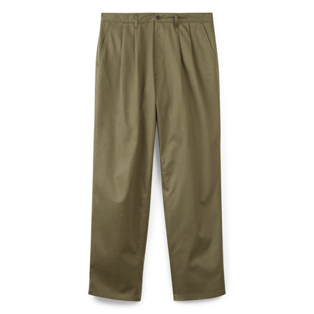 Mens Pleated Chino Olive