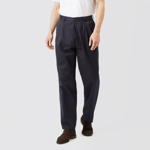 Men's Cotton Chino - Pleated - Navy - Community Clothing