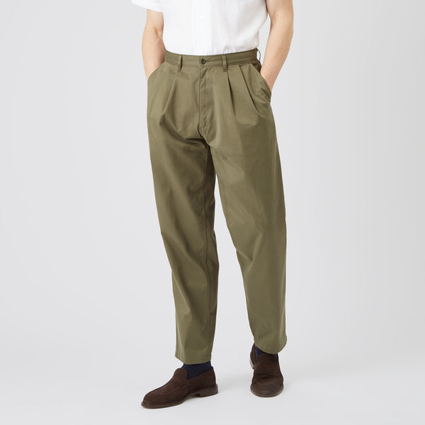 Men's Cotton Chino - Pleated - Olive - Community Clothing