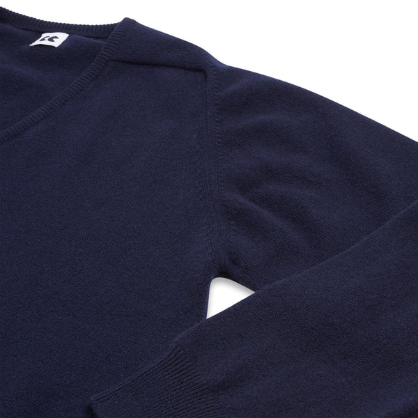 Lambswool V Neck Jumper Navy
