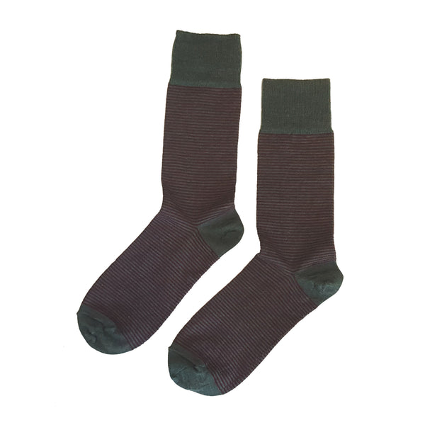 Fine Striped Wool Socks Green/Port - Community Clothing