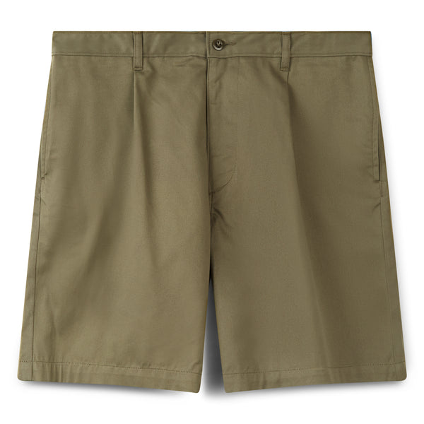 Men's Cotton Shorts - Pleated - Olive - Community Clothing