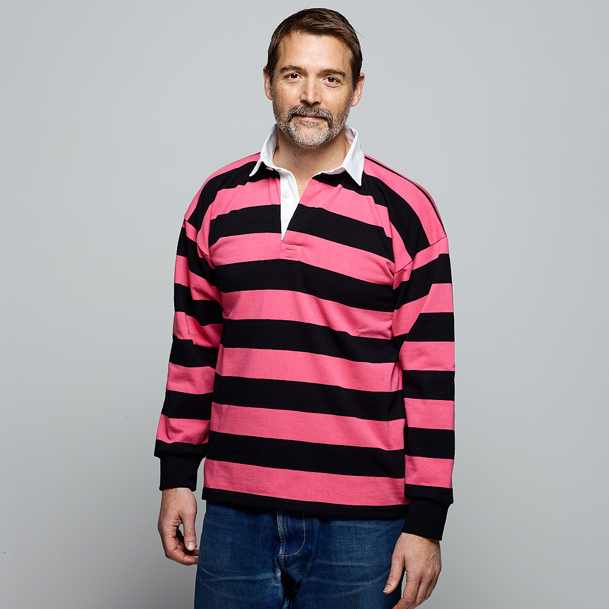Men's Rugby Shirt Black Pink Stripe - Community Clothing
