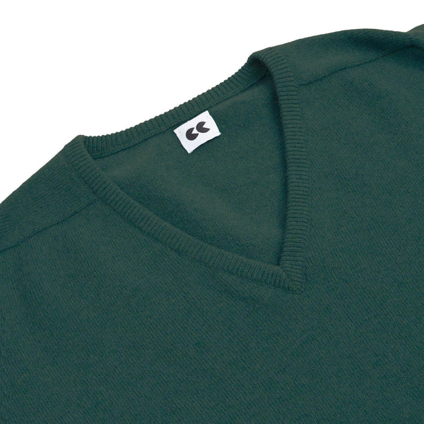 Lambswool V Neck Jumper Moorland Green