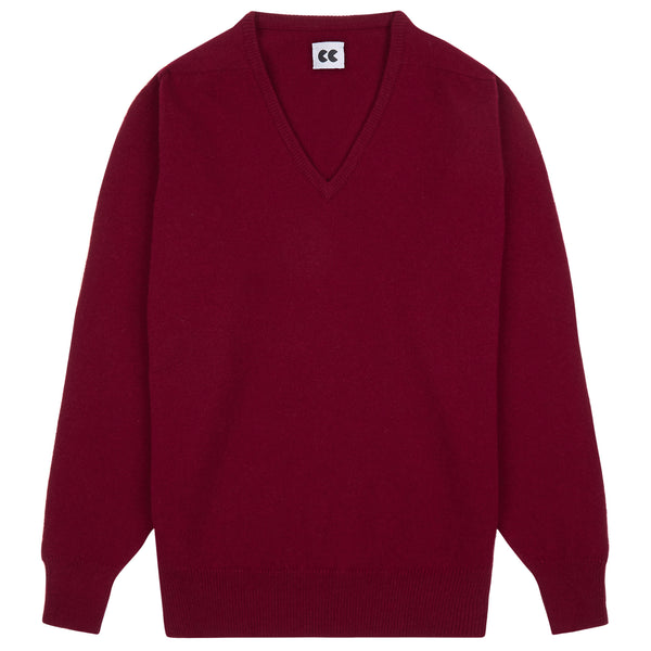 Lambswool V Neck Jumper Claret Red - Community Clothing