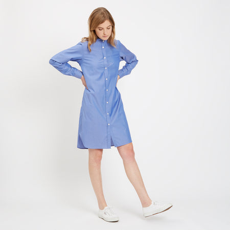 Womens Collarless Shirt Dress Chambray