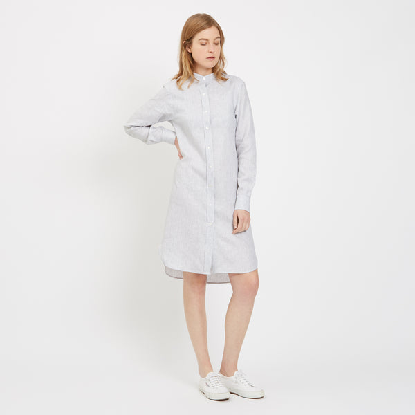 Womens Collarless Shirt Dress Linen Stripe - Community Clothing