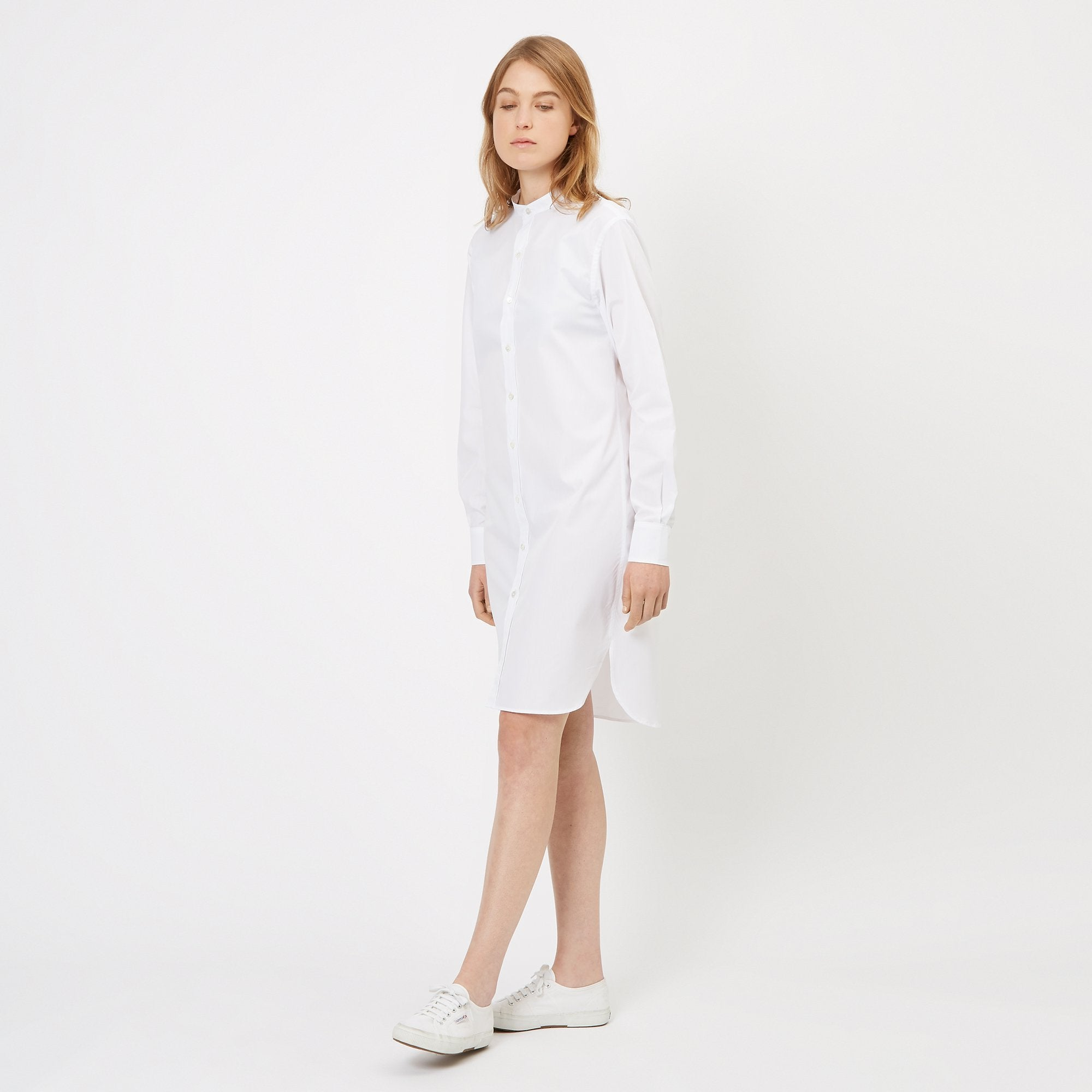 Womens Collarless Shirt Dress White Community Clothing