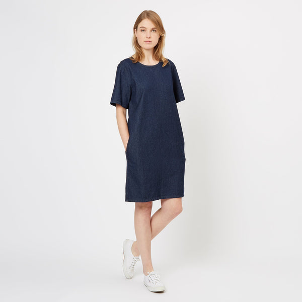 Women's Denim Smock Pocket Dress Indigo