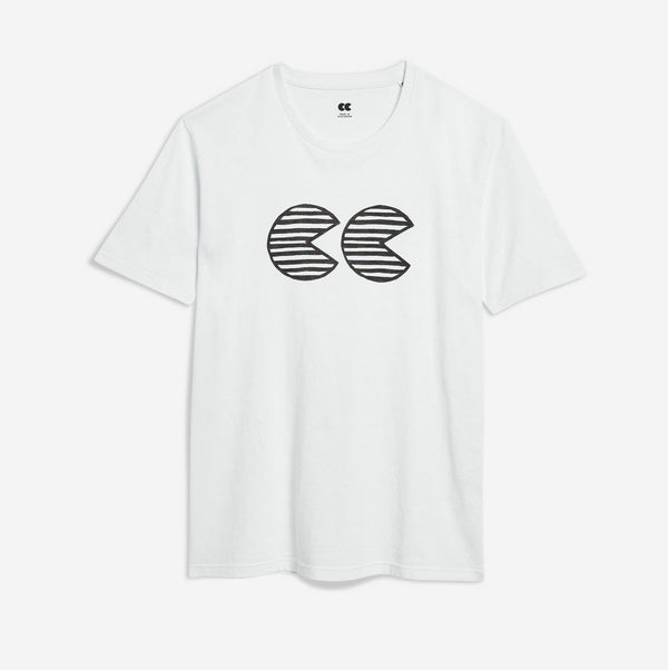 Unisex Printed CC T-Shirt White/Black - Community Clothing