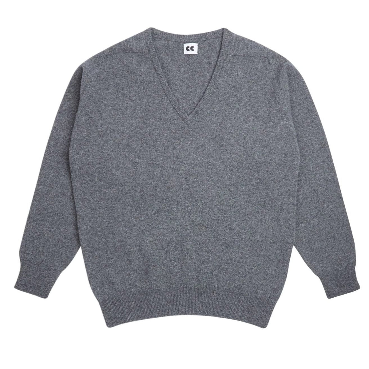 Lambswool V Neck Jumper Grey - Community Clothing
