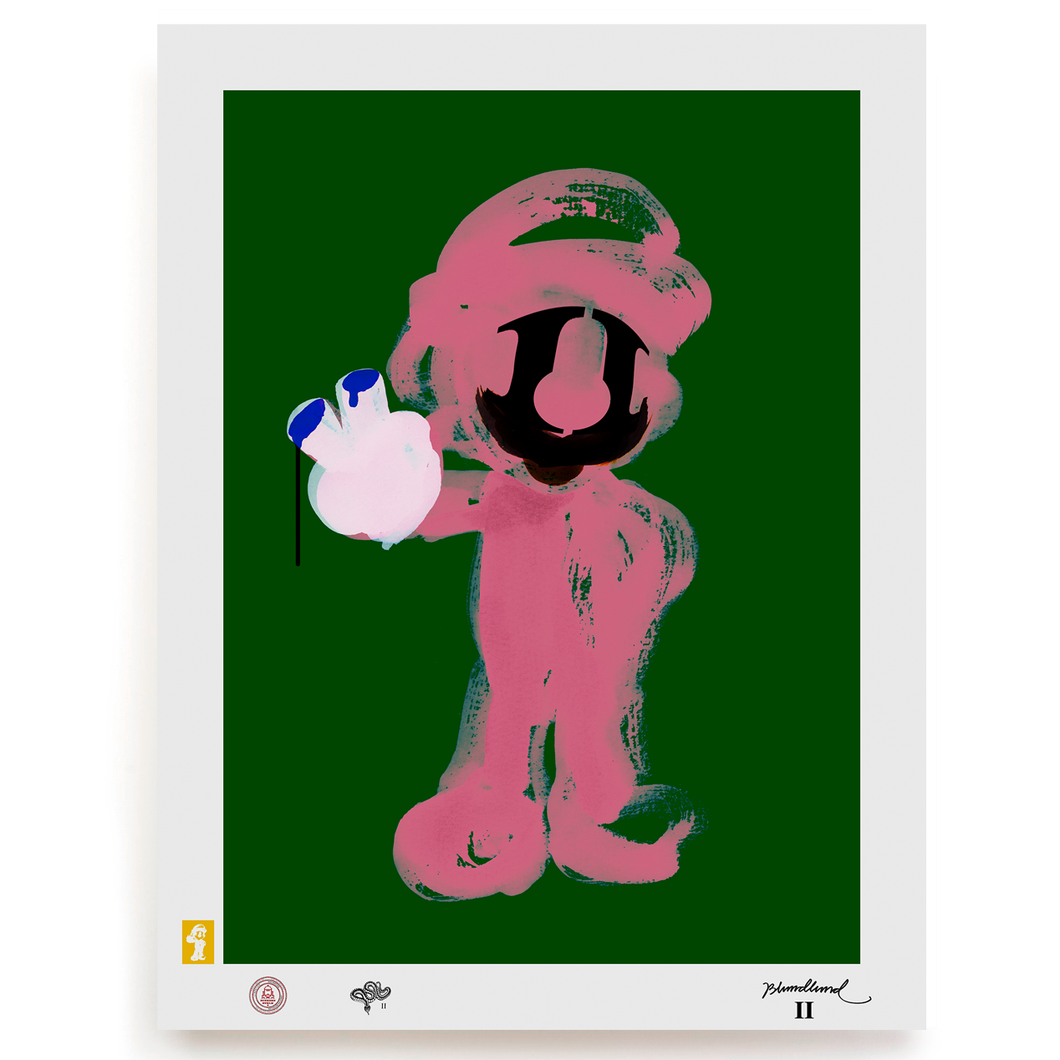 BLUNDLUND.CO.,LTD FINE ART PRINT - MARIO II PINK GREEN / LIMITED EDITION OF 250
