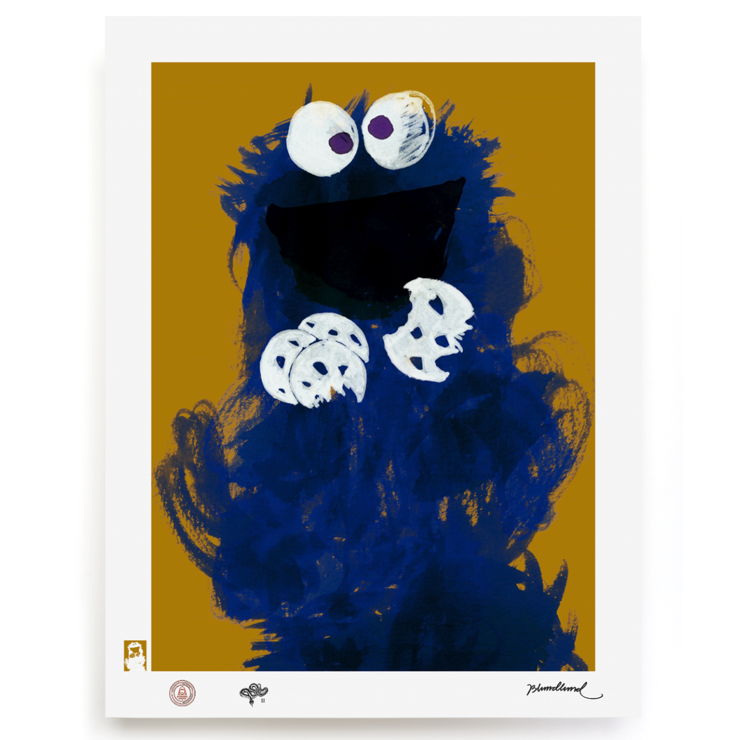blundlund_bup_cookie_monster_blue_brown_fine_art_print_eye_shut_island_designshop_stockholm