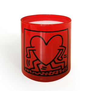 KEITH HARING RED RUNNING HEART / ARTISANAL SCENTED CANDLE