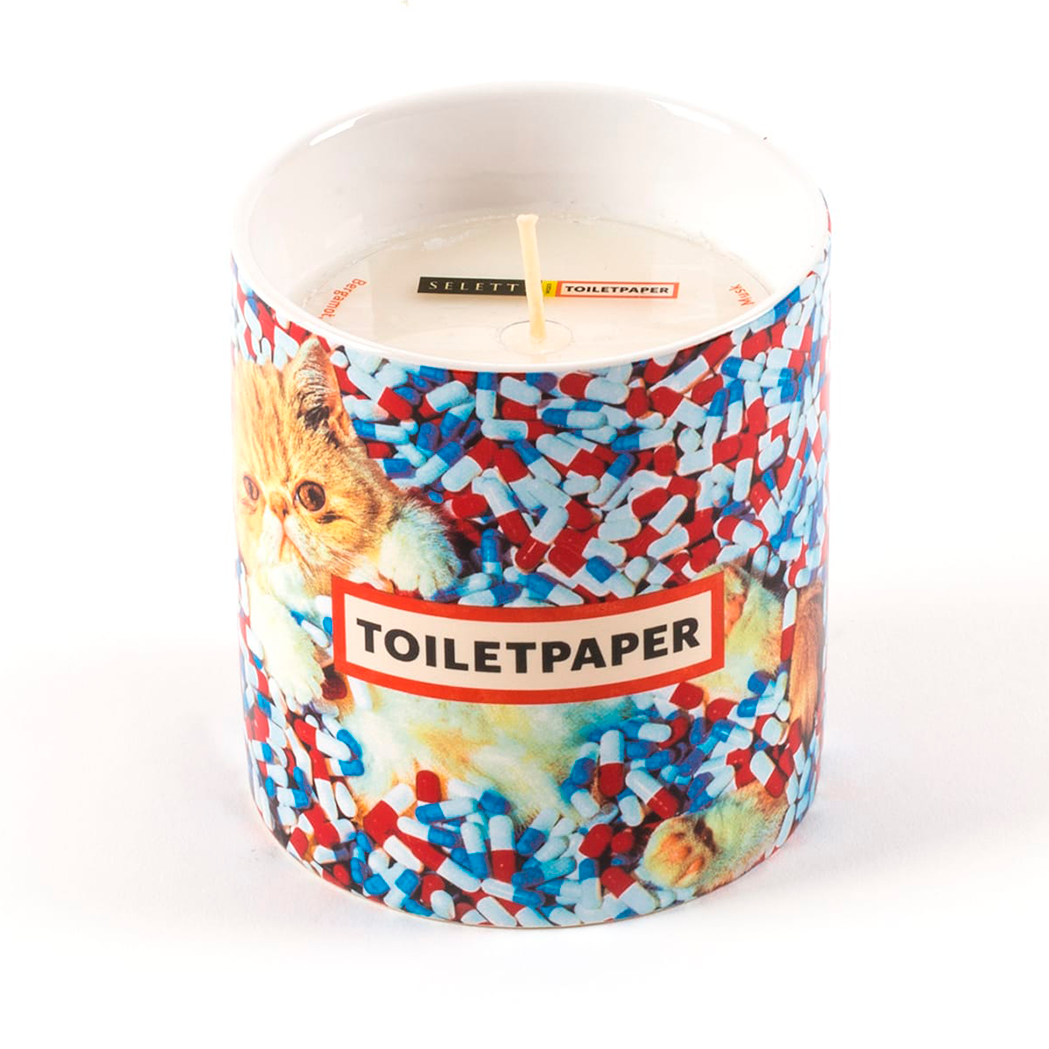 TOILETPAPER SCENTED CANDLE - CATS & PILLS / SELETTI