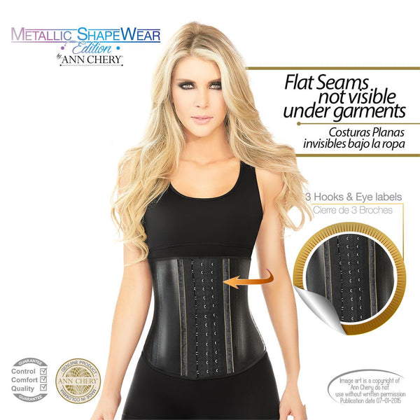 2045 Metallic Latex Shapewear 3 Hooks Color Black