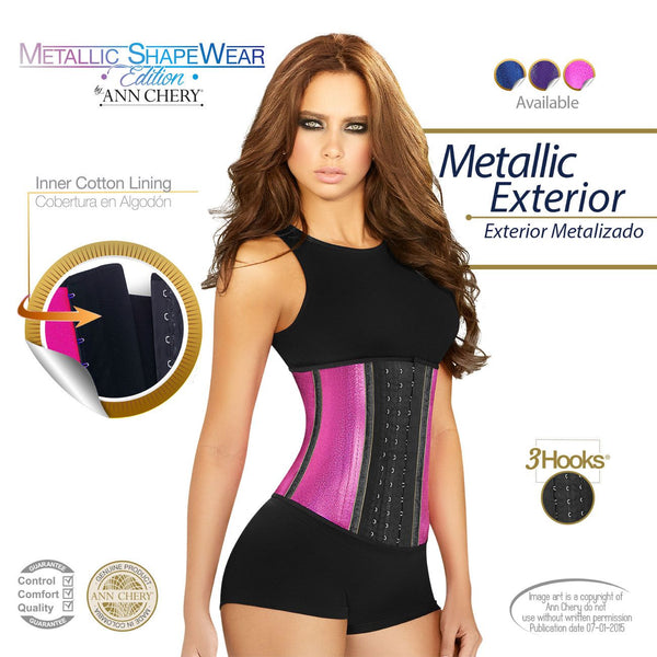 2046 Metallic Latex Shapewear 3 Hooks Color Pink