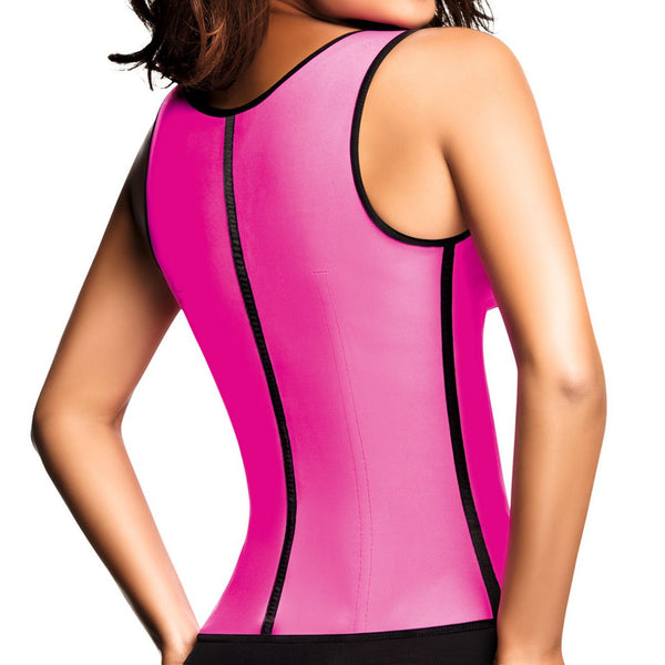 2022 Classic 3 Hooks Latex Waist Cincher Shapewear Vest Color Fuchsia