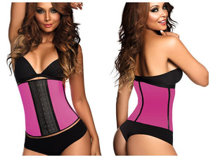 2023 Latex Sport Workout Waist Cincher Corset Color Fuchsia