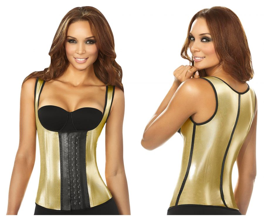 2048 Metallic Vest Shapewear 3 Hooks Color Gold