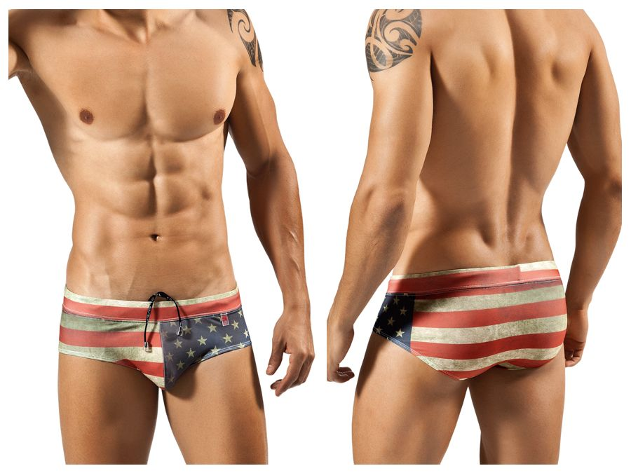 0560 Flag Swimsuit Brief Color Red